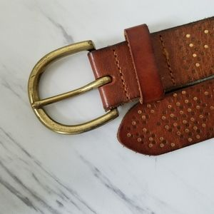 American Eagle Brown Leather Belt Gold Dot Accents